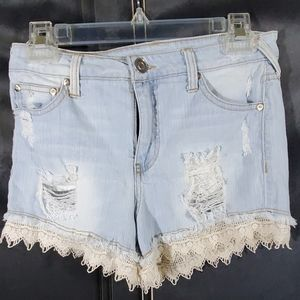 Elan distressed lace denim shorts